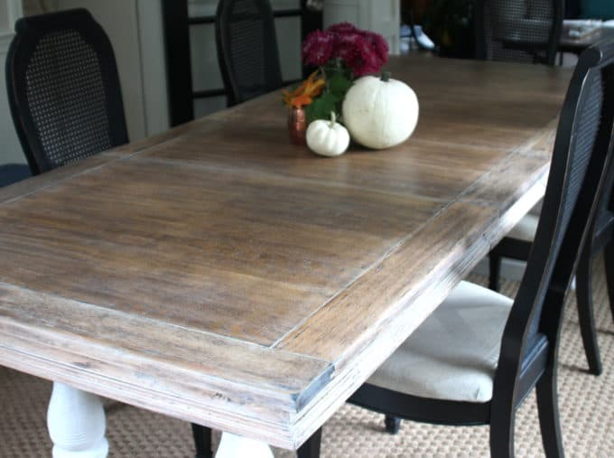 Refinished dining table gets a limed finish