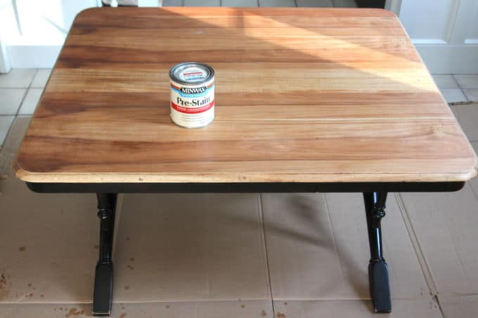 Wood conditioner helps raw wood to take stain evenly