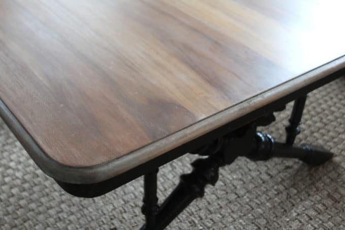 A refinished coffee table top