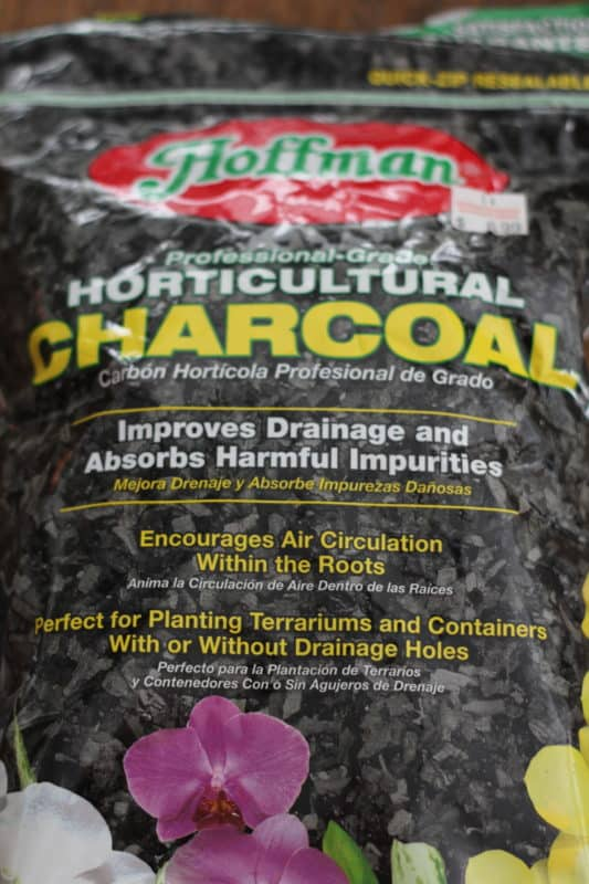 Charcoal used in terrariums in plantings