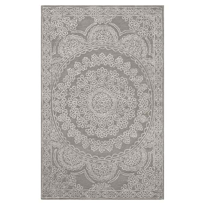 Neutral gray and white wool rug from PBTeen