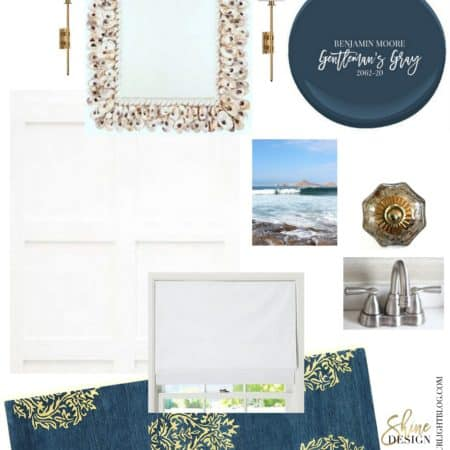 Coastal blue and white bathroom design plan.