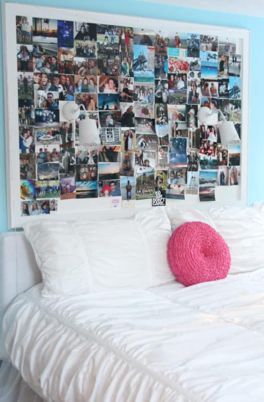 White bedding, turquoise walls, and hot pink elements are the color palette for this teen girls room.
