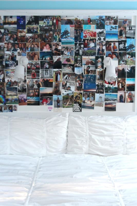 A huge bulletin board over a bed is the perfect place for Instagram photos.