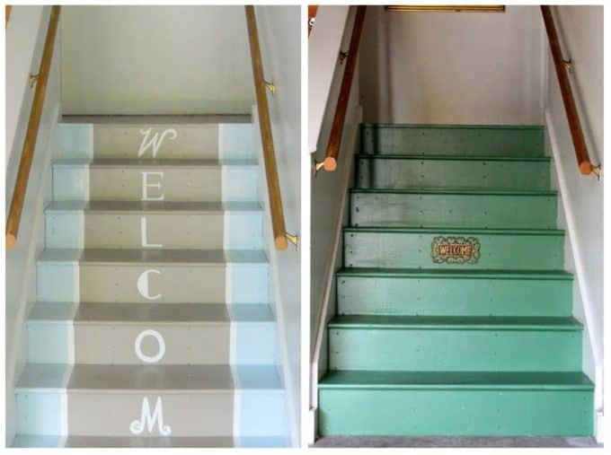 Garage stairs get a makeover with floor paint!