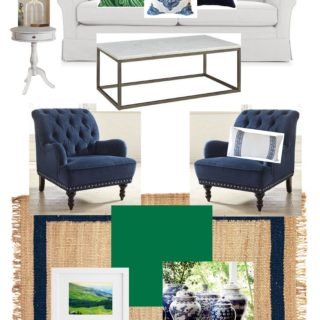Sunroom design with kelly green, navy and white using Sherwin Williams Greenbelt