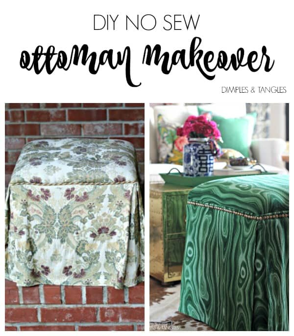 Outdated stools found on Craigslist are reupholstered in a green malachite-like fabric by Jennifer of Dimples & Tangles.