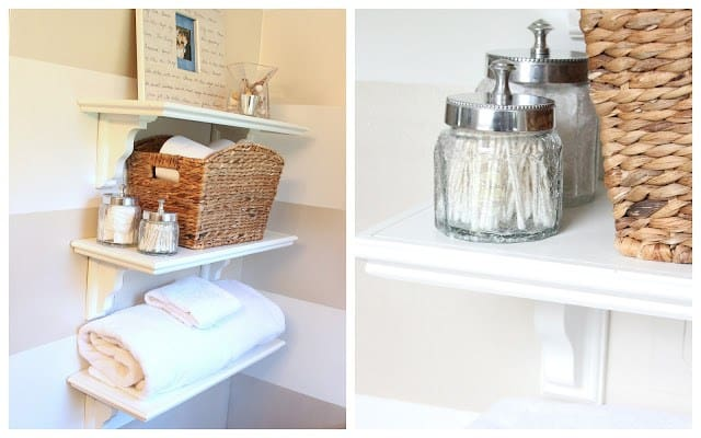 DIY bathroom shelves are a simple beginner carpentry project.