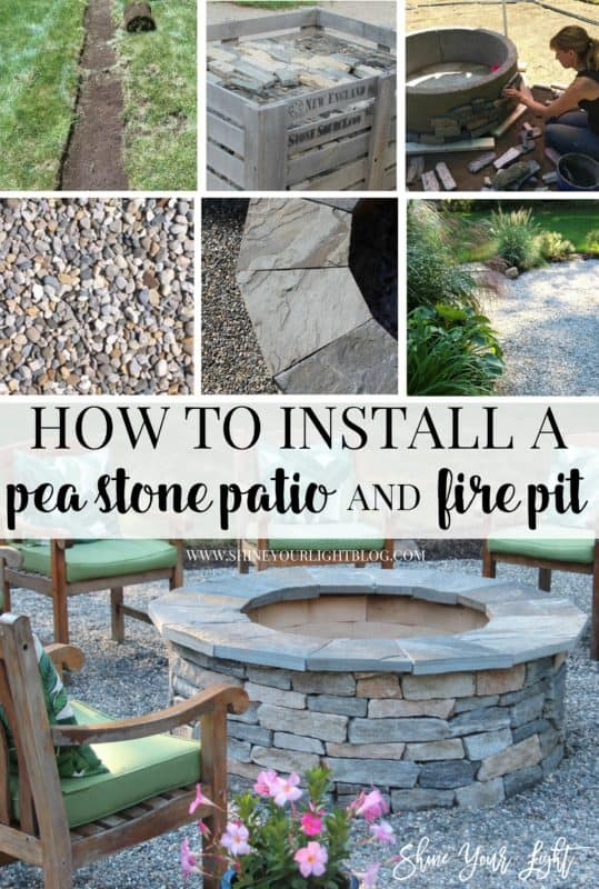 How to install a pea stone patio and build a stone veneered fire pit, from start to finish.
