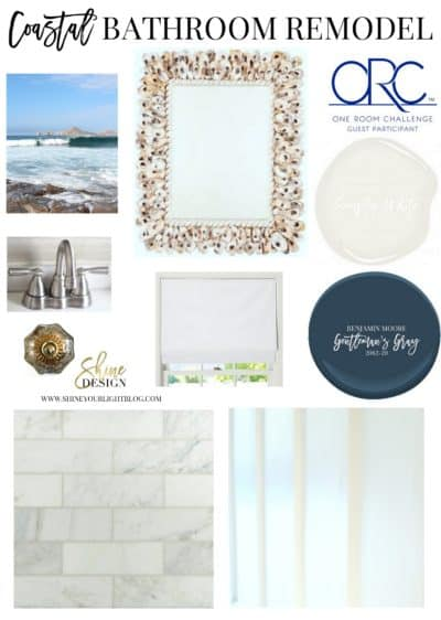 A light and coastal design plan for a beige and boring bathroom.