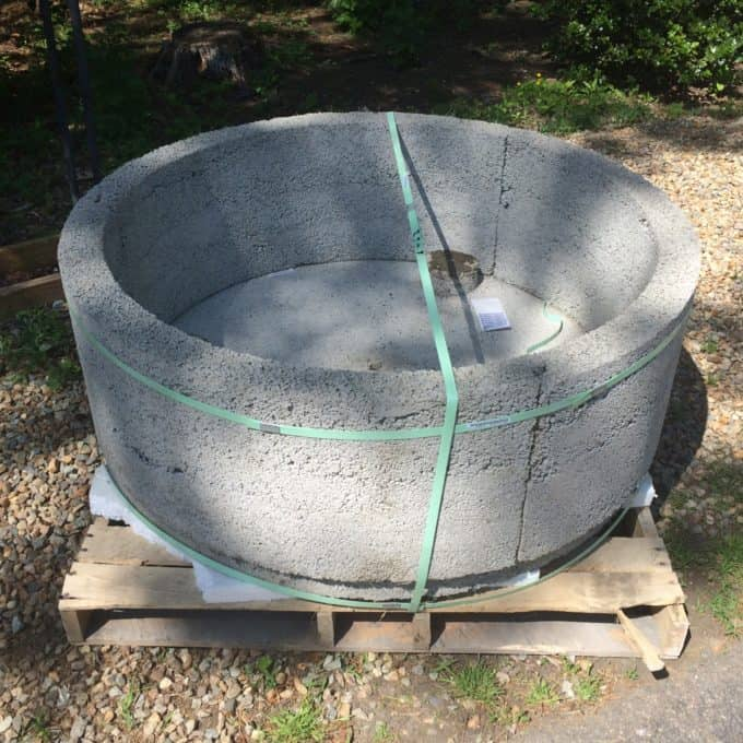 Cast cement built in fire pit base from Stone Farm Living.
