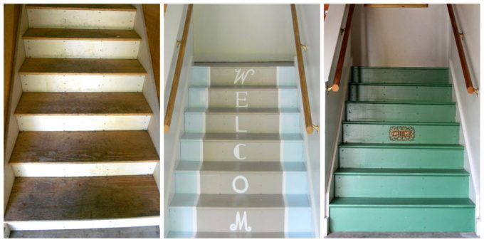 Garage steps are painted with floor paint.