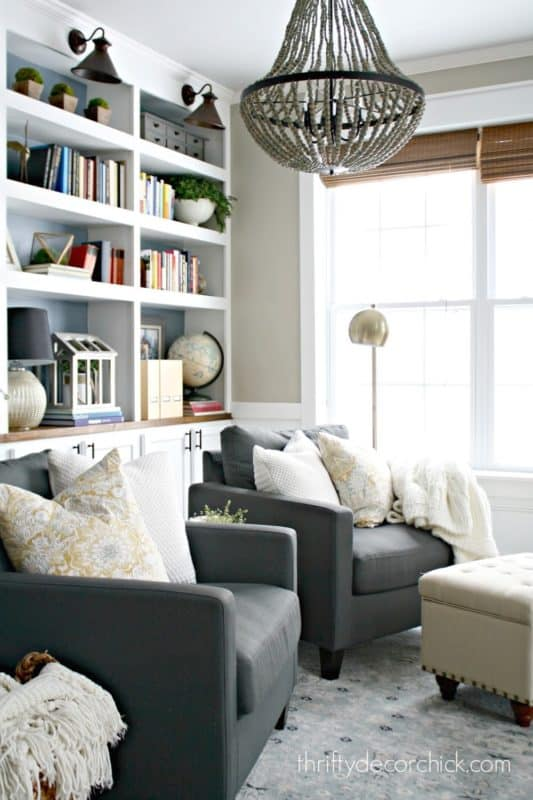 The dining room transformed into a library by Sarah of Thrifty Decor Chick.
