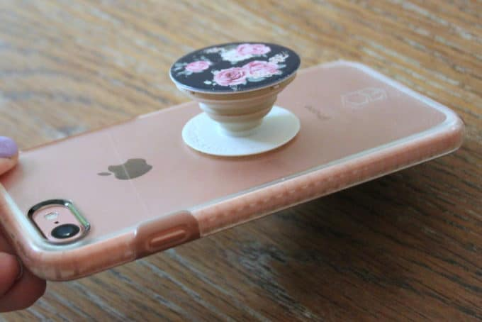 Cell phone grip and stand.