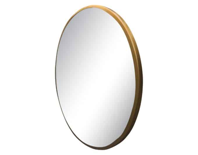 "27""x27"" round gold framed mirror."