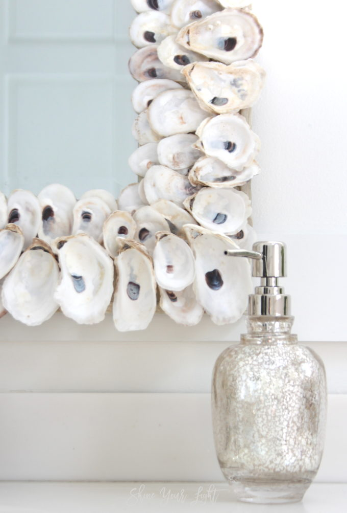 A bathroom remodel with coastal touches | Oyster shell mirror | Shine Your Light