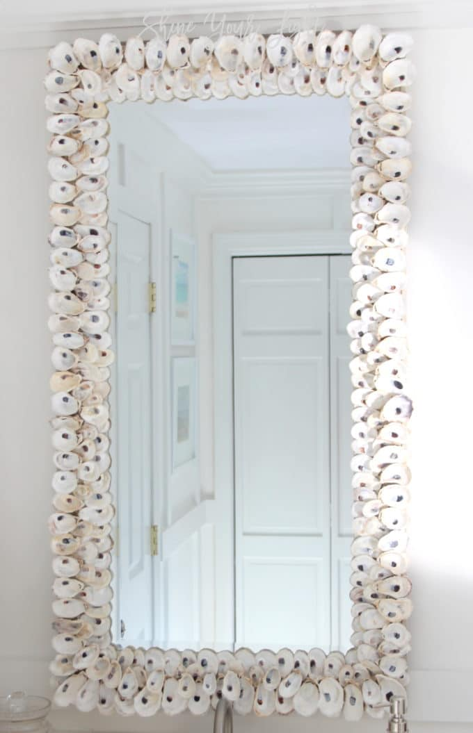 Use Liquid Nails to glue cleaned and bleached oyster shells to a mirror.