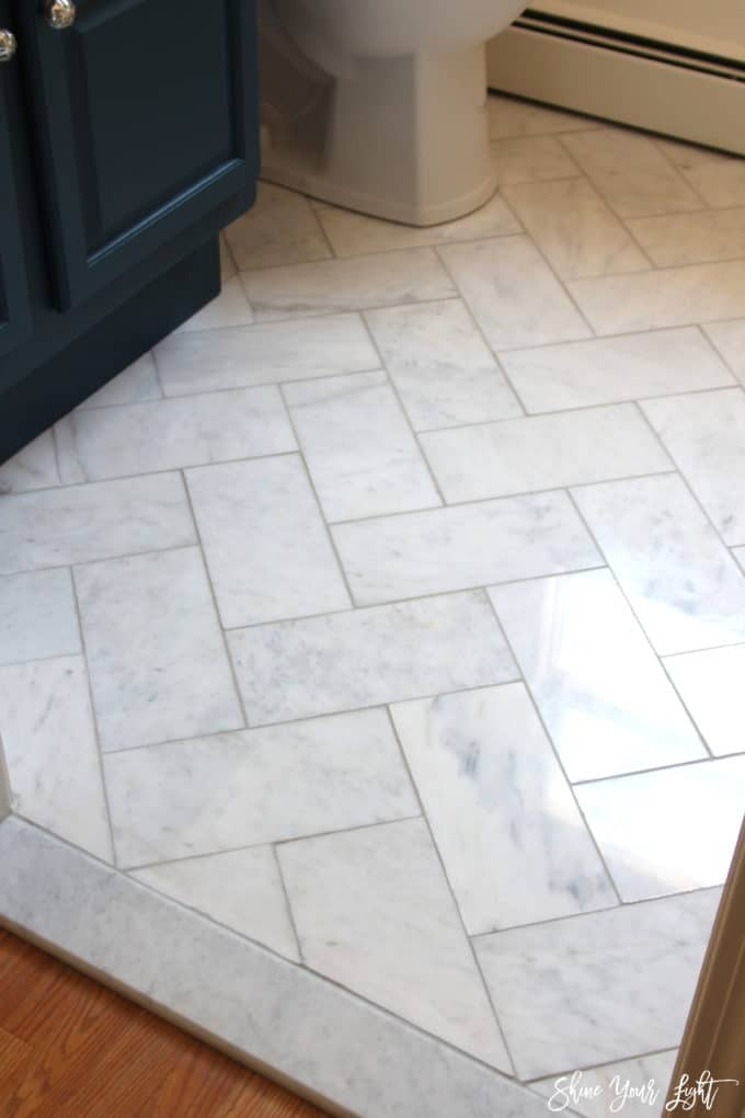 DIY installation of marble tile floor via Shine Your Light