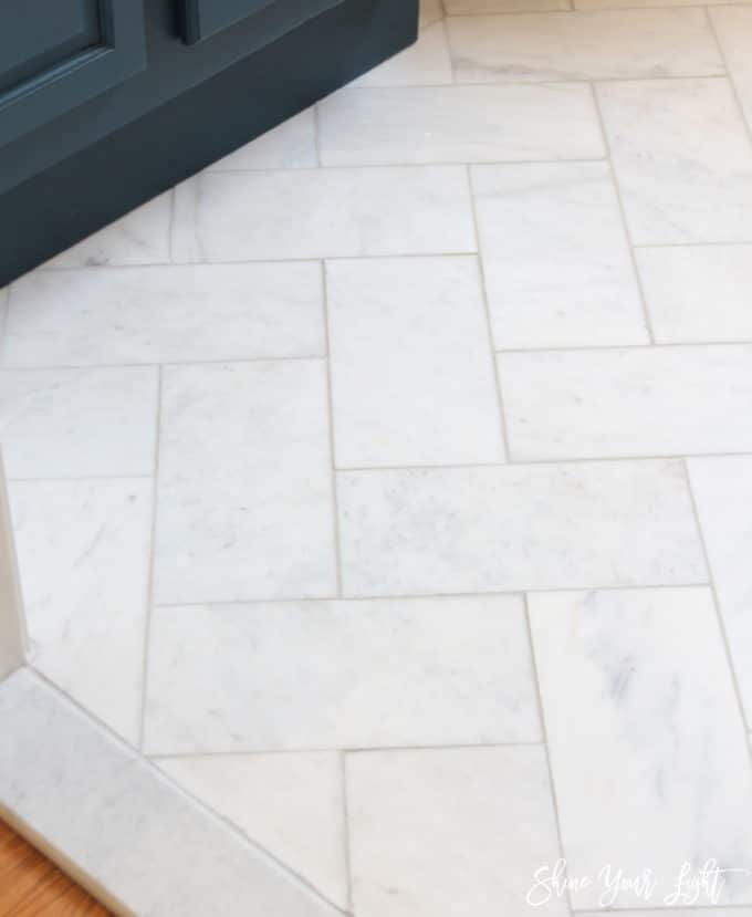 Large Herringbone Marble Tile Floor A Great Tip To Diy