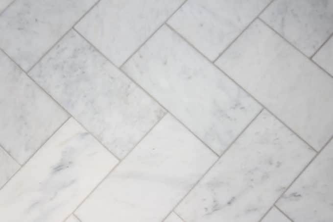 Large Herringbone Marble Tile Floor How To Diy It For Less Shine Your Light