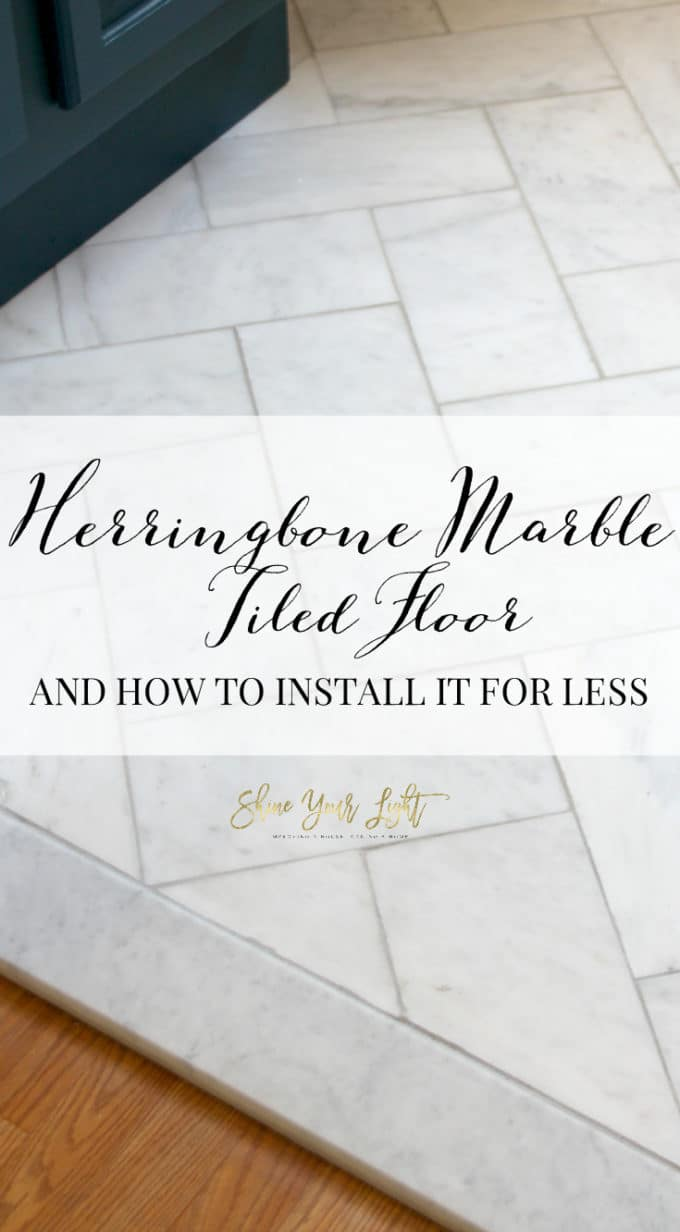 A trick to a large herringbone marble tiled floor for less.