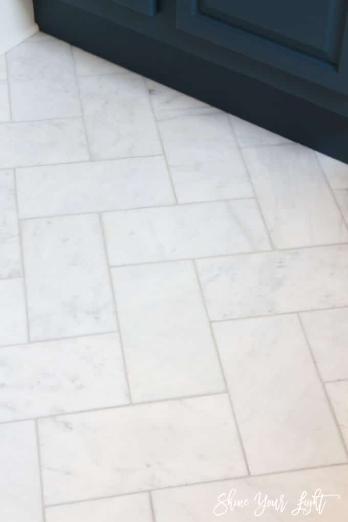 Large Herringbone Marble Tile Floor How To DIY It For Less Shine - Installing tile floor in bathroom