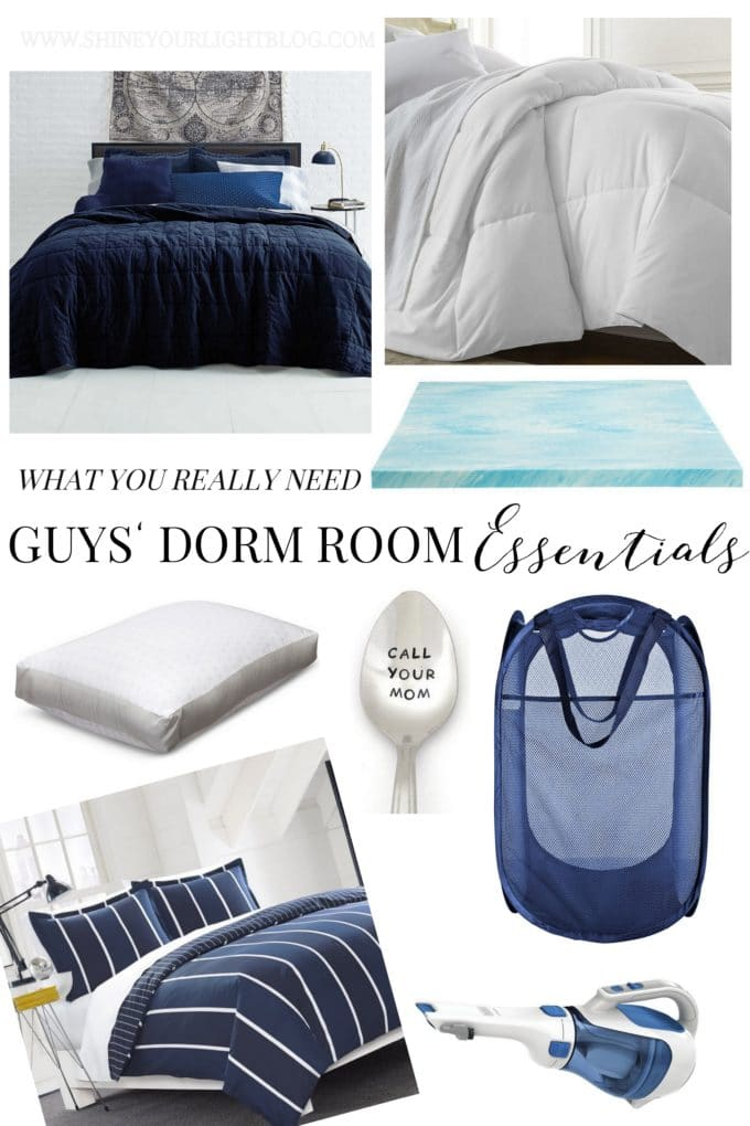 What guys really need for a dorm room - mostly, a comfy bed and food storage.