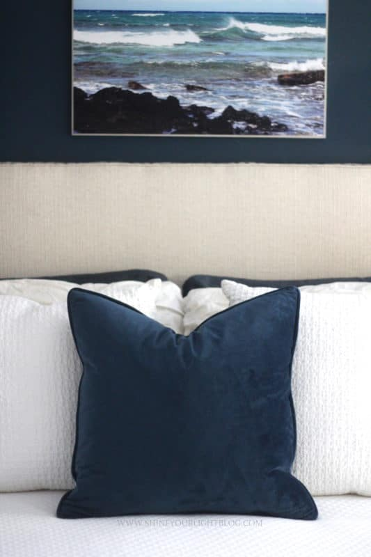 Making a blue and white bedroom a little more cozy for fall.