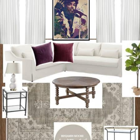 A neutral living room design board with pops of plum and garnet.