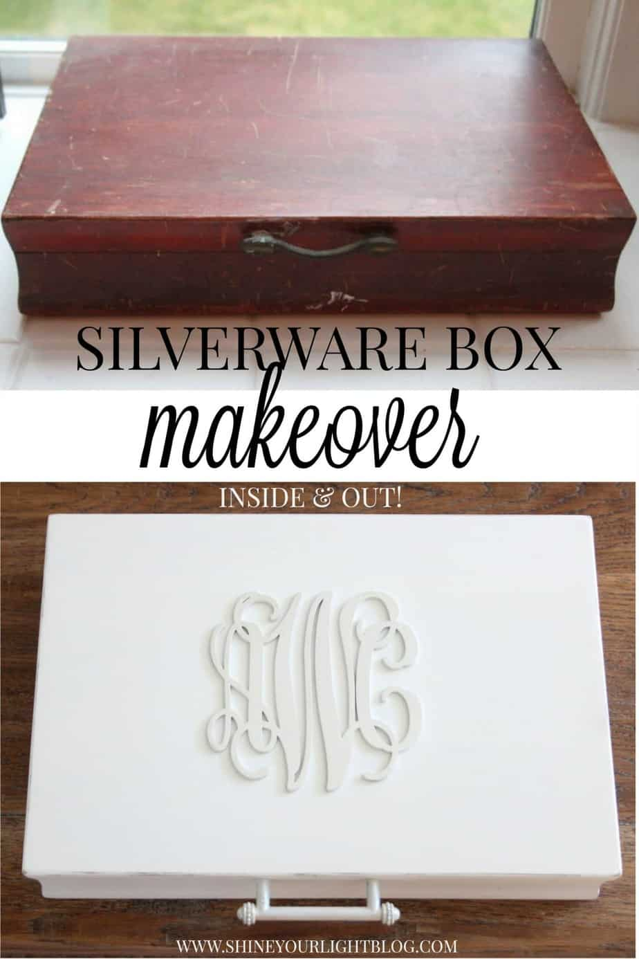 An old silverware box is given a makeover inside and out.