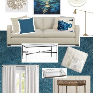 Teal, cream and white living room design.