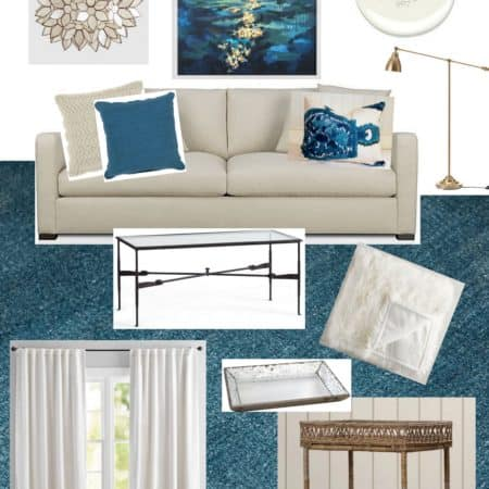 Living Room Design In Cream & Teal