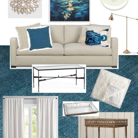Living Room Design In Cream & Teal