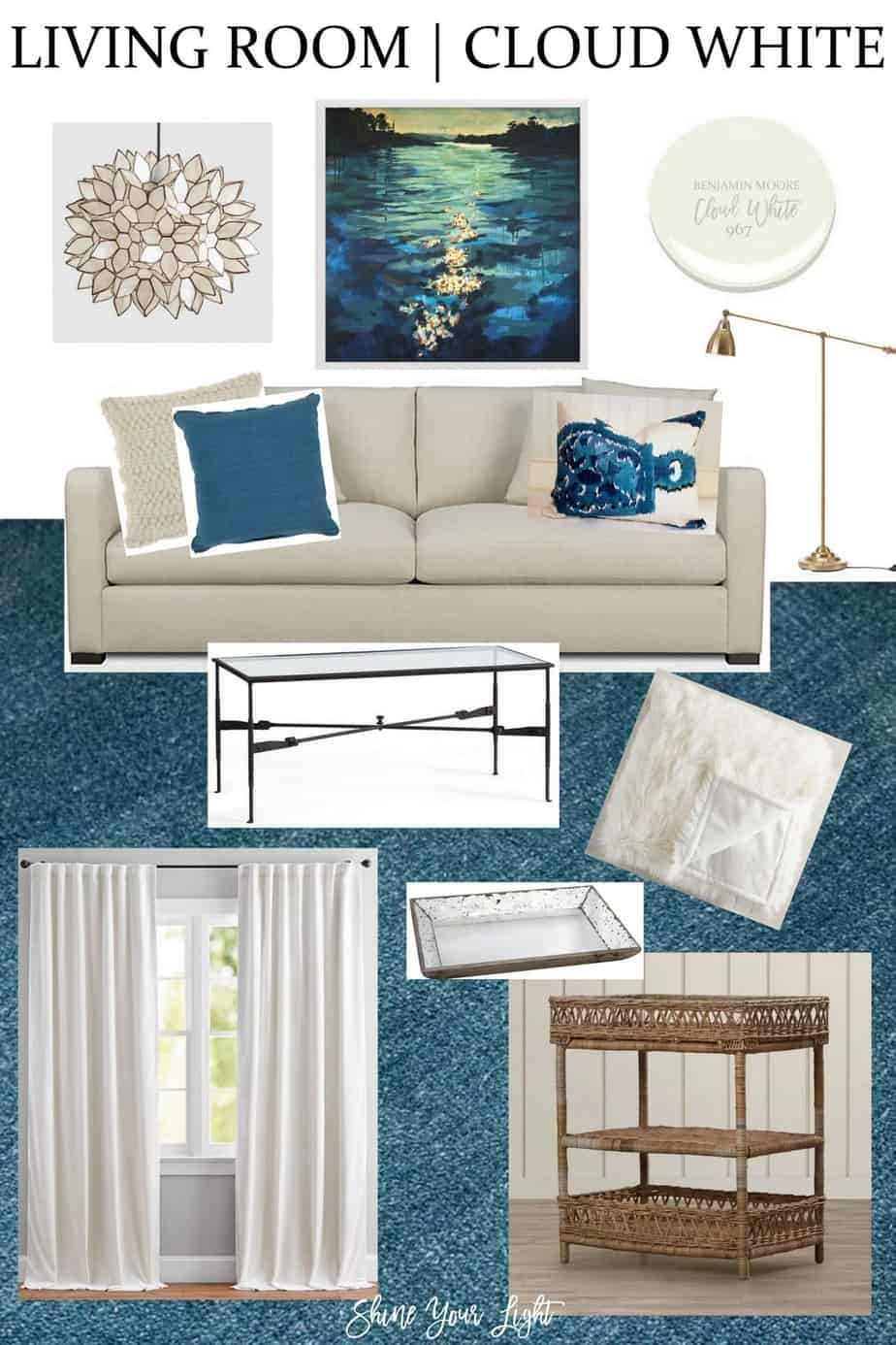 Living Room Design In Cream & Teal - Shine Your Light