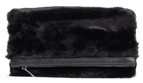 Foldover faux fur clutch.