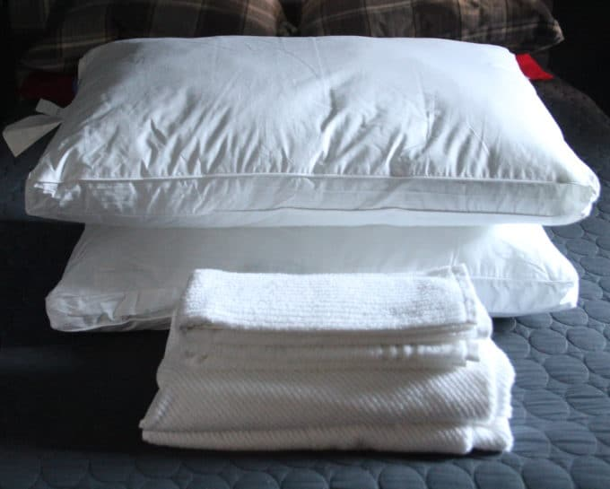 Fresh pillows and towels for holiday guests.
