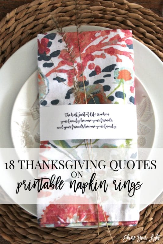 Printable quotes to wrap napkins with for Thanksgiving.
