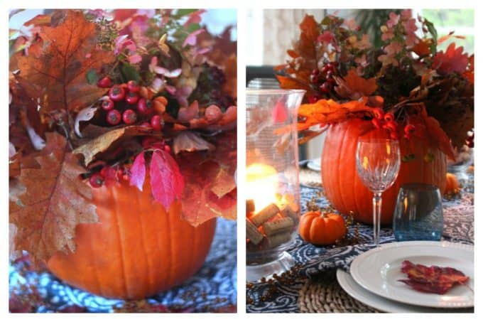 Fresh pumpkin centerpiece.