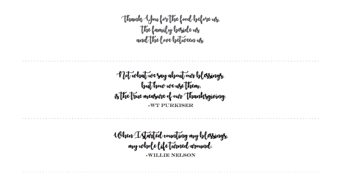 Quotes for each placesetting.