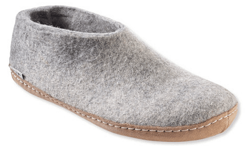 Warm, comfortable wool slippers with leather sole.