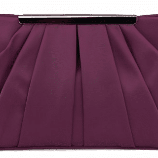 Plum satin clutch purse.