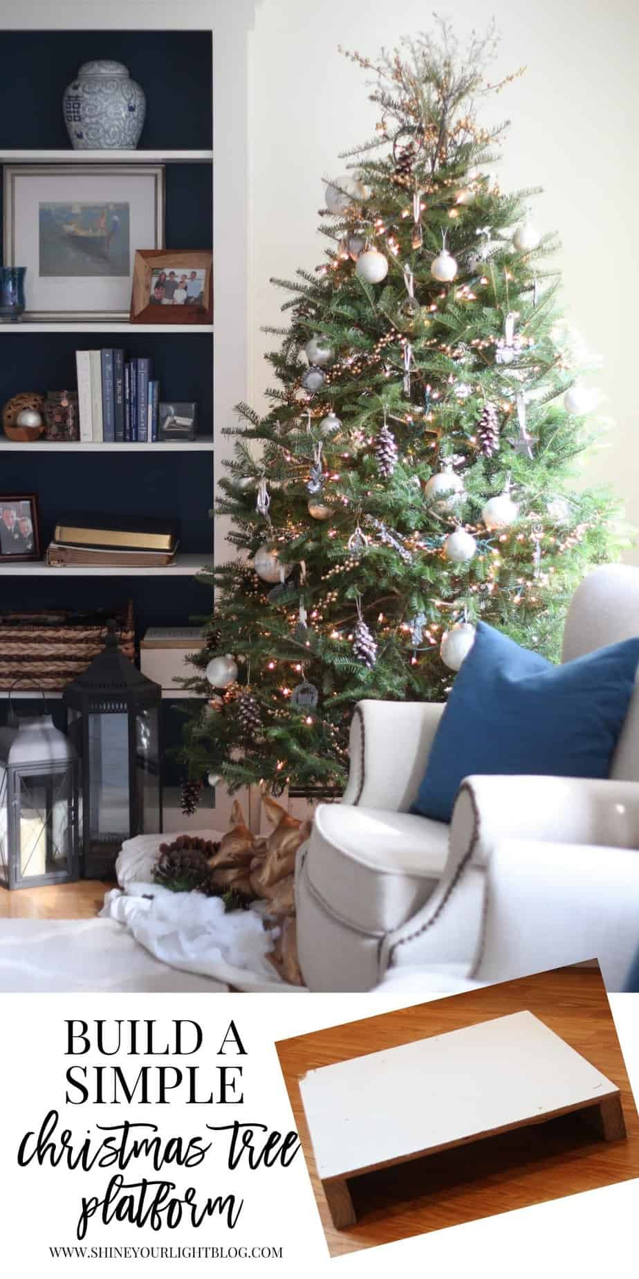 how to build a very simple christmas tree platform to raise up a small tree