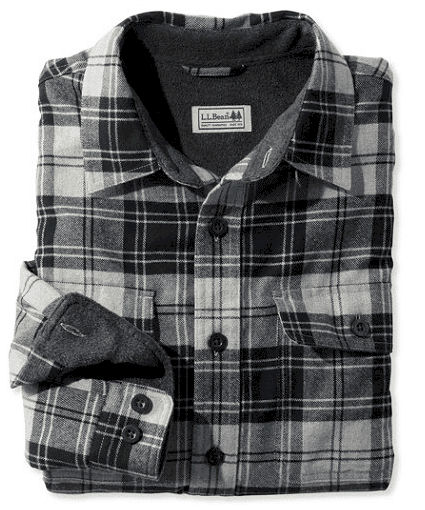 Fleece lined flannel shirt by LLBean