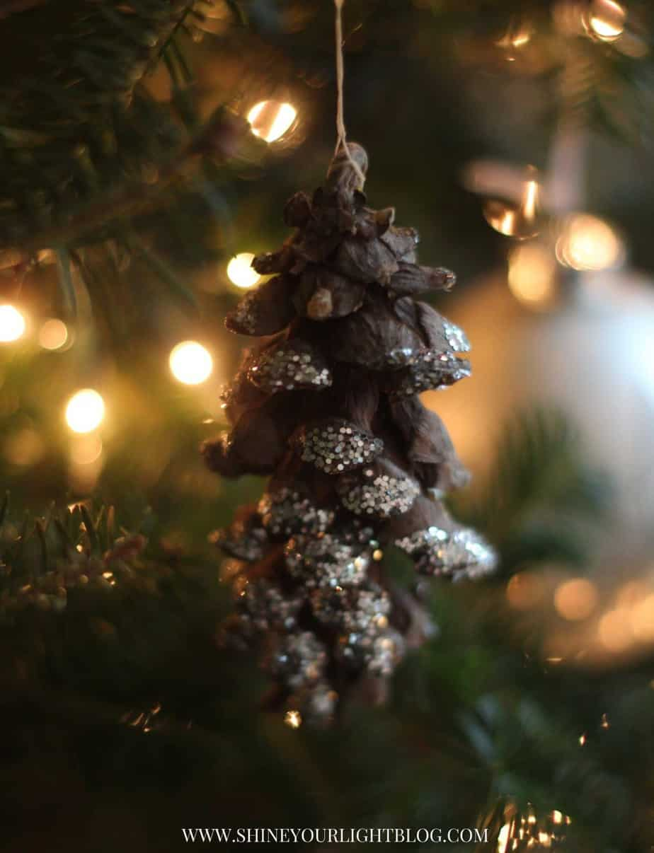 Glitter pinecone ornaments are an easy and fun craft to do with kids.