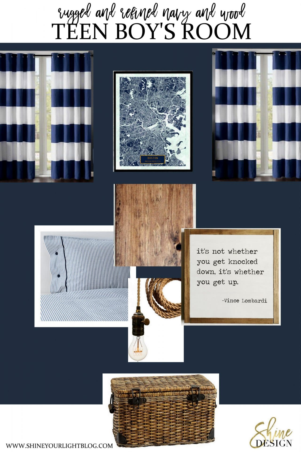 A teen boy's room design featuring navy walls and wood accents.