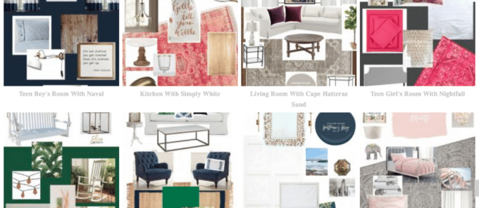 Design board gallery from Shine Your Light blog