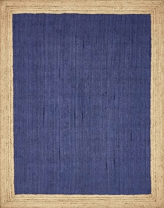Navy and natural jute area rug