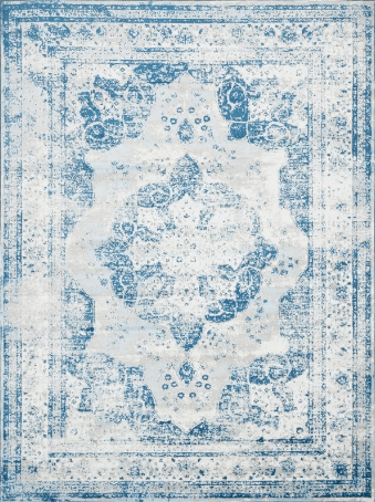 Affordable large rug blue and white