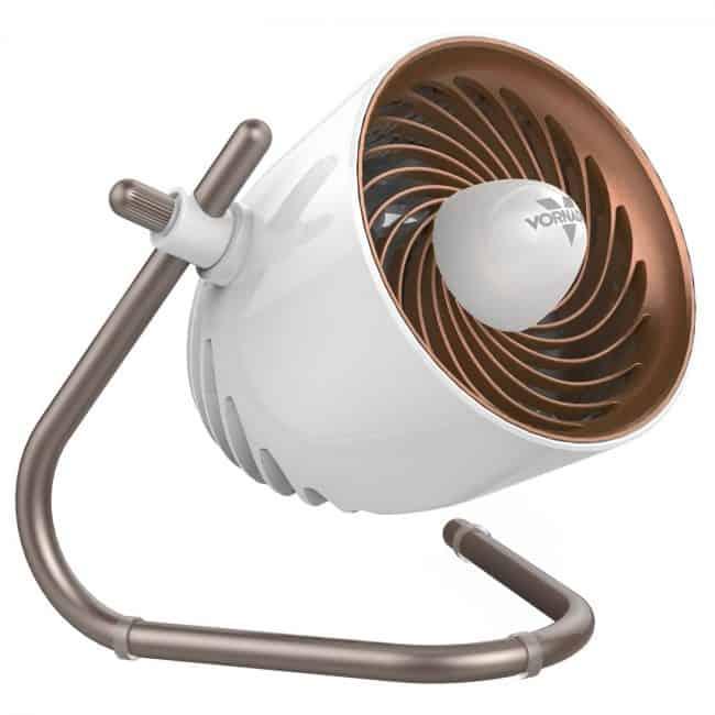 Copper and white desktop fan, compact enough for a dorm room.