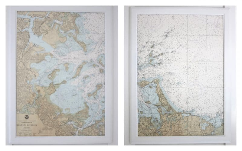 A Boston Harbor nautical map, cut in half and framed with inexpensive Ikea frames.